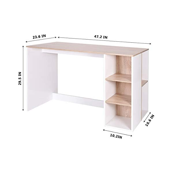 Bicolor Writing-Computer Desk with Storage Large Students-Study Desk with 5 Shelves Home-Office PC Laptop Study Table Modern Wood Workstation with Integrated Bookcase BREN11 //Beech and White