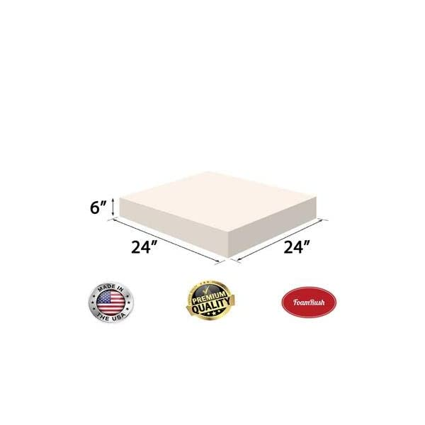 Chair Cushion Square Foam for Dinning Chairs, Wheelchair Seat Cushion Replacement FoamRush 4 H x 24 W x 36 L Upholstery Foam High Density Firm Foam Soft Support