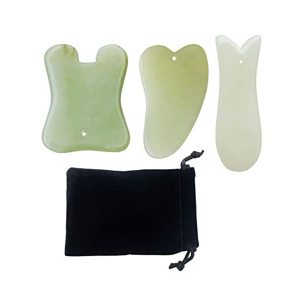 Beautyours Natural Jade Handmade Multi-Shape Gua Sha Scraping Massage Tools - 3pcs for Skin Facial Care Therapy Trigger Point Treatment