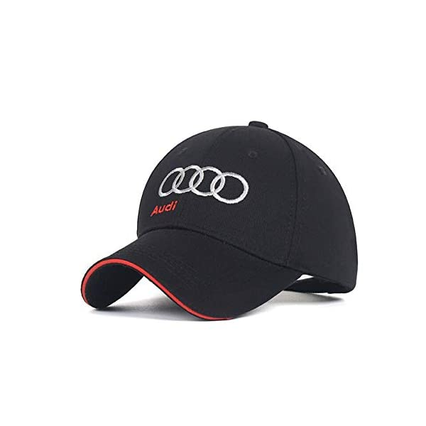 Black JDclubs Car Logo Embroidered Adjustable Baseball Caps for Men and Women Hat fit Audi Accessory