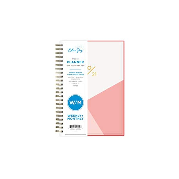 Blue Sky 2020-2021 Academic Year Weekly /& Monthly Planner Cali Pink Twin-Wire Binding 8.5 x 11 Flexible Cover
