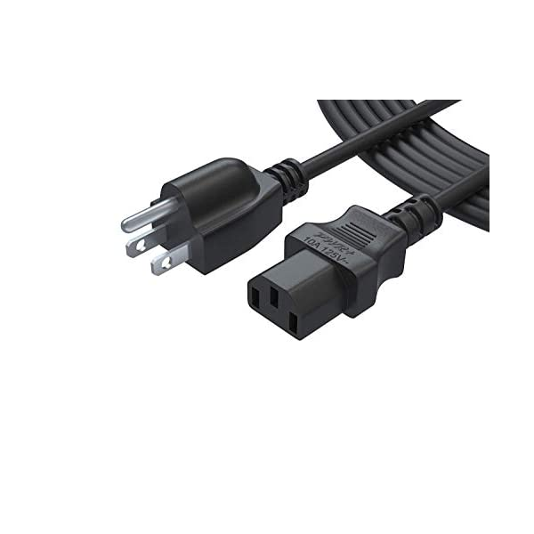 UL Listed HP Envy//OfficeJet Printer Right Angle Replacement Canon PIXMA 12FT Power Cord Cable Compatible Samsung TCL Roku LG Sharp Toshiba Insignia Sony LED LCD TV