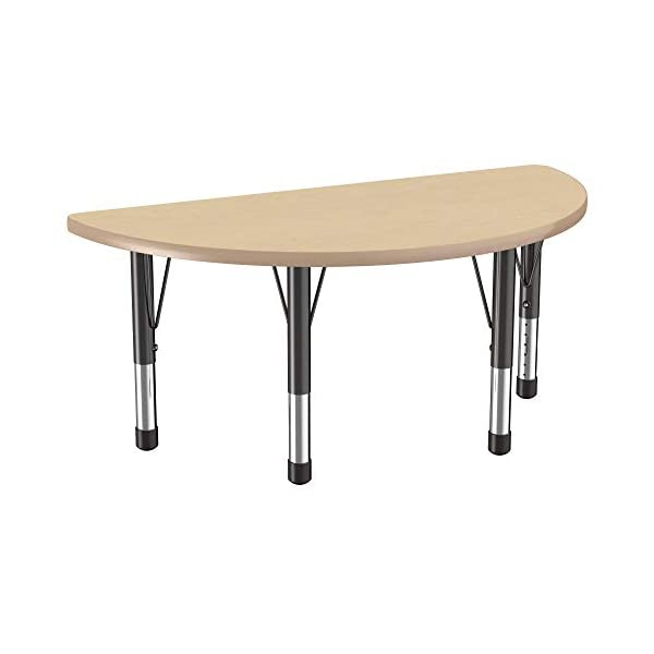 Toddler Leg 24 x 36 inch FDP Rectangle Activity School and Classroom Kids Table Adjustable Height 15-24 inches Maple Top and Maple Edge