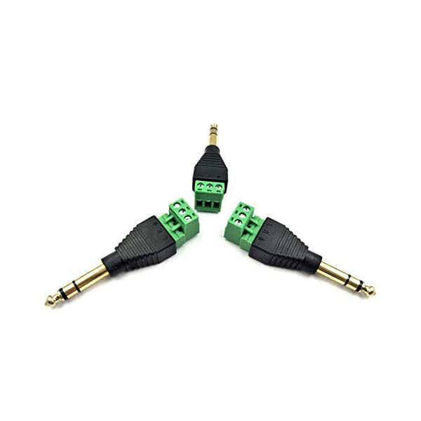Poyiccot 3-Pack 1//4 Stereo Audio Mono Male Plugs to 90 Degree 3 Pin Screw Terminal Female Microphone Balum Converter Adapter 6.35mm