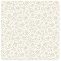 Ivory Square Coaster,Baroque Style Curved Leaves and Floral Blooms Artistic Nature Beauty Kitsch Design Motif for Home,3.5