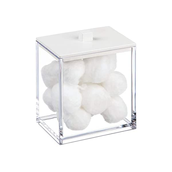 Makeup Sponges Bath Salts mDesign Modern Square Bathroom Vanity Countertop Storage Organizer Canister Jar for Cotton Swabs Balls Rounds Light Yellow 2 Pack