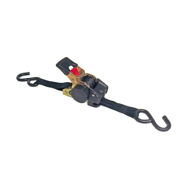 Erickson 34413 Pro Series Black 1 x 6 Retractable Ratcheting Tie-Down Strap 1500 lb Load Capacity, Pack of 2