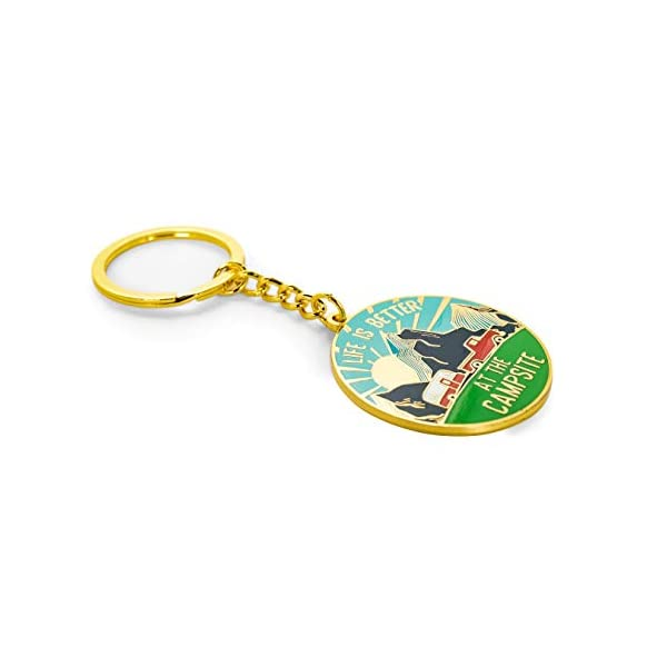 53287 Camco Life is Better at The Campsite Red Teardrop Heart RV Keychain-Gold Ring for Car Fobs and Keys
