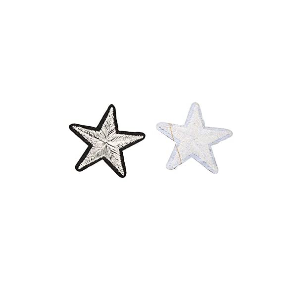 Yalulu 10Pcs Iron On Patches Badges Black Stars Appliques Sequin Embroidered Patches for Clothing Trousers Bags Stickers Sewing Accessories