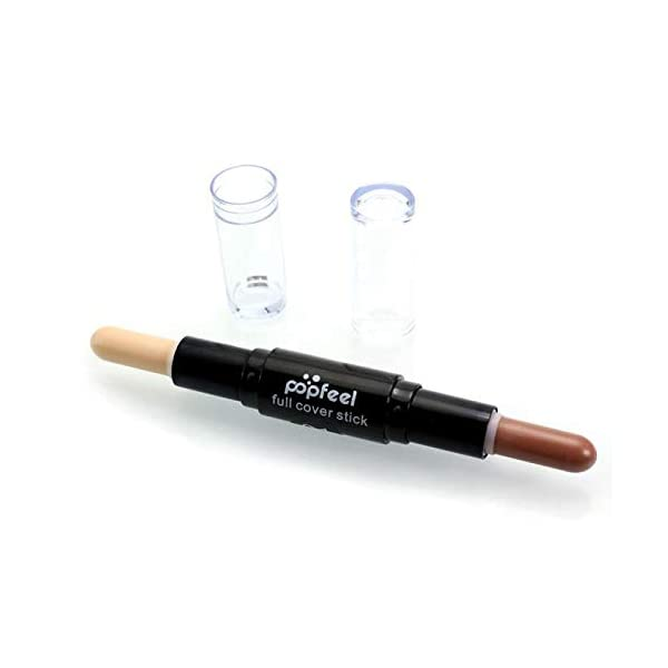 Joykith Double Head Concealer Stick Professional Makeup Natrual Cream Face Eye Concealer Highlight Contour Pen Stick,Light and Breathable,Soothes Skin, Mediumbrown & White