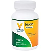 The Vitamin Shoppe Biotin 5,000MCG, Nutrient Metabolism Support for Healthy Vibrant Hair, Healthy Skin Strong Nails, Energy Production (120 Capsules)