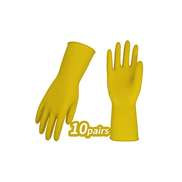 Vgo 10Pairs Reusable Household Cleaning Dishwashing Kitchen Glove Pet Care Long Sleeve Thin Latex Working Size L, Yellow, HH4602 Painting Gardening Gloves