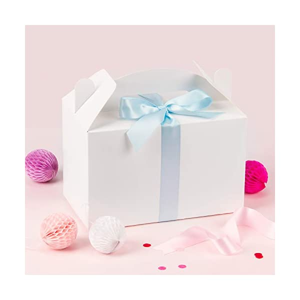 LaRibbons 12 Pack Treat Gift Boxes 9.5 x 5 x 5 inches Brown Paper Box Recycled Kraft Gift Box Birthday Party Shower Favor Box