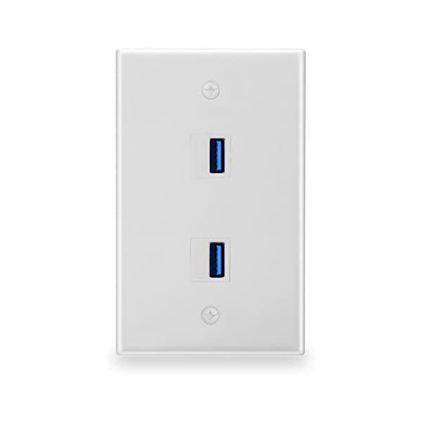 2 Hole Port Keystone Jack Wall Plate White with Mounting Screws