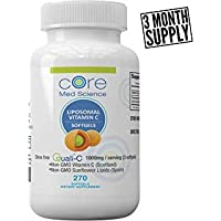 Liposomal Vitamin C Softgels 1000mg/dose - 3 Month Supply - 270 softgels - Quali®-C Vitamin C from Scotland - USA Made - High Absorption Immunity & Collagen Booster Supplement - Non-GMO, Non-Soy