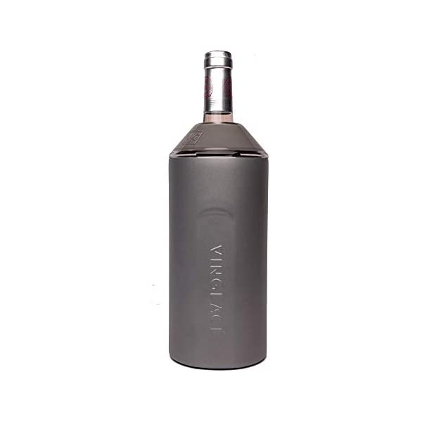 10 x 11 x 12 Vinglac/é Wine Bottle Insulator Keeps Wine /& Champagne Cold for Hours Vacuum Insulated Stainless Steel Graphite Double Walled Tritan Plastic Adjustable Top