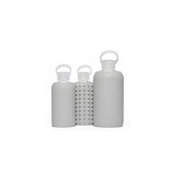 BPA Free /& Dishwasher Safe Opaque Cool Light Grey Color bkr London Water Bottle with a Soft Lavender Lip Decal 16 oz Narrow Mouth Glass Bottle with Soft Silicone Sleeve