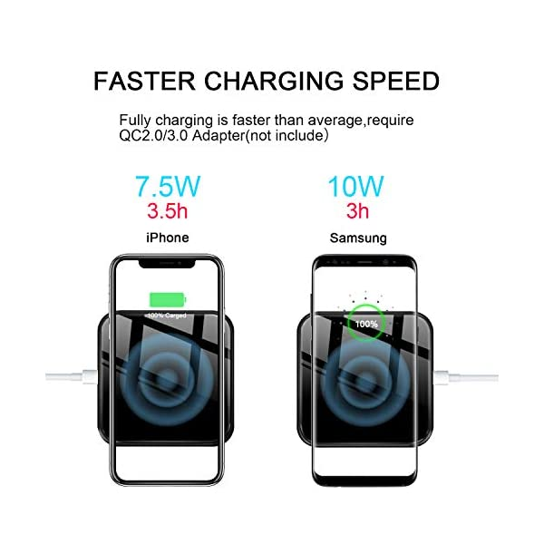 10W Fast-Charging Samsung Galaxy S9//S9+//S8//S8+//S7//S7 Edge More Compatible 7.5W iPhone Xs Max//XR//XS//8//8 Plus Acctisen Fast Wireless Charger White Qi Certified Ultra-Safe Wireless Charger Pad
