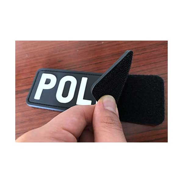 Hannah Fit Large PVC Police Patch Hook Fastener Back Black and White for MilitaryTactical Vest Combat Plate Carrier Law Enforcement 6X2 inch