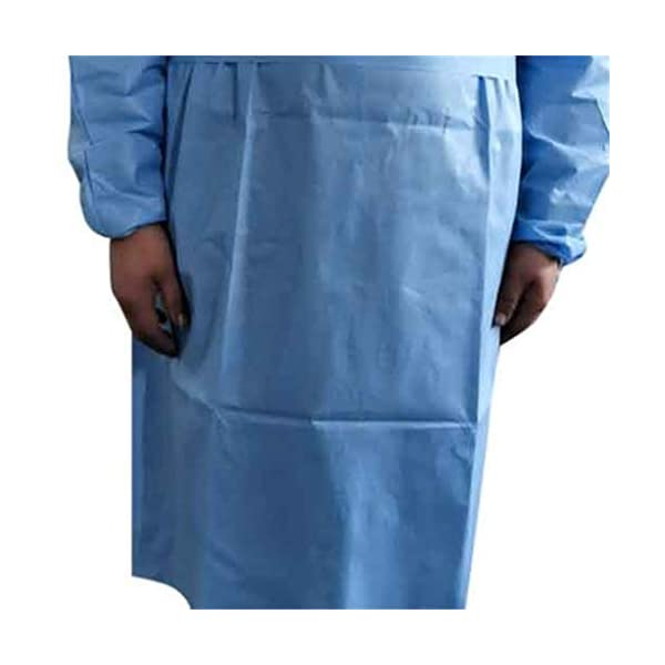 Elastic Cuffs with Waist and Neck Tie Closures Blue Protective Coverall Blue,50PCS Medical Isolation Gowns Non-Sterile Examination Gowns for Women Men Disposable Protective Clothing