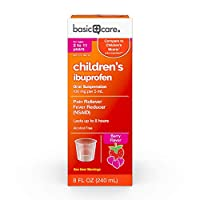 Basic Care Children's Ibuprofen Oral Suspension 100 mg per 5 mL (NSAID), Pain Reliever and Fever Reducer, Berry Flavor, 8 Fluid Ounces