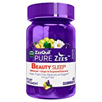 ZzzQuil Pure Zzzs Beauty Sleep Melatonin Gummies, 42 ct, Sleep Aid with Ginger, Grape Seed Extract, Chamomile and Lavender