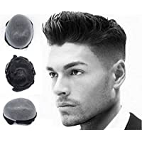 Durable Mens Hair Replacement System Unit Human Hair Toupee Scalloped Front Real Gents Poly Skin Hairpieces Light Black #1B