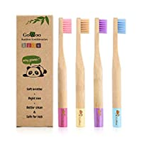GoWoo 100% Natural Bamboo Toothbrush Soft - Organic Eco Friendly Toothbrushes with Soft Nylon Bristles, BPA-Free, Biodegradable, Dental Care Set for Children, (Pack of 4, Kids, Rainbow)
