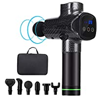 Massage Gun,Deep Tissue Percussion Muscle Massager Handheld Electric Body Massage Gun with 6 Massage Heads 20 Speed for Relieving Muscle Pain, Soreness, and Stiffness(Black)