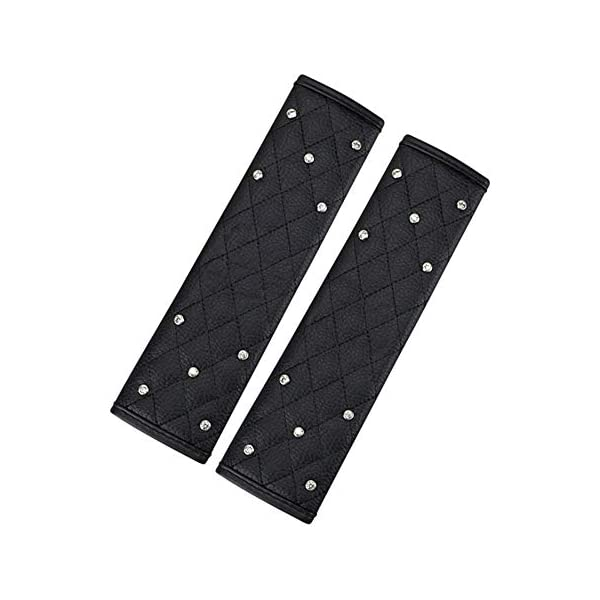9.8 inch PU Leather Bling Bling Crystal Seat Belt Cover for Womens,Crystal Car Decoration MLOVESIE 2 pcs Auto Seat Belt Shoulder Pads
