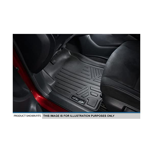 2006-2008 Lincoln Mark LT Crew Cab SMARTLINER Floor Mats 2 Row Liner Set Black for 2004-2008 Ford F-150 SuperCrew Cab