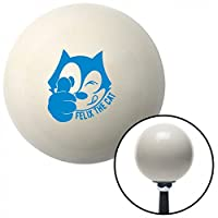 American Shifter 42203 Ivory Shift Knob with 16mm x 1.5 Insert (Blue Felix The Cat Thumbs Up)