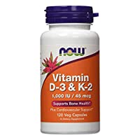 NOW Supplements, Vitamin D-3 & K-2, 1,000 IU/45 mcg, Plus Cardiovascular Support*, Supports Bone Health*, 120 Veg Capsules