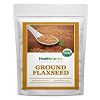 Healthworks Flax Seed Ground Powder Cold Milled Raw Organic (48 Ounces / 3 Pounds)   All-Natural   Contains Protein, Fiber, Omega 3 & Lignin/Lignan   Smoothies, Coffee, Shakes & Oatmeal