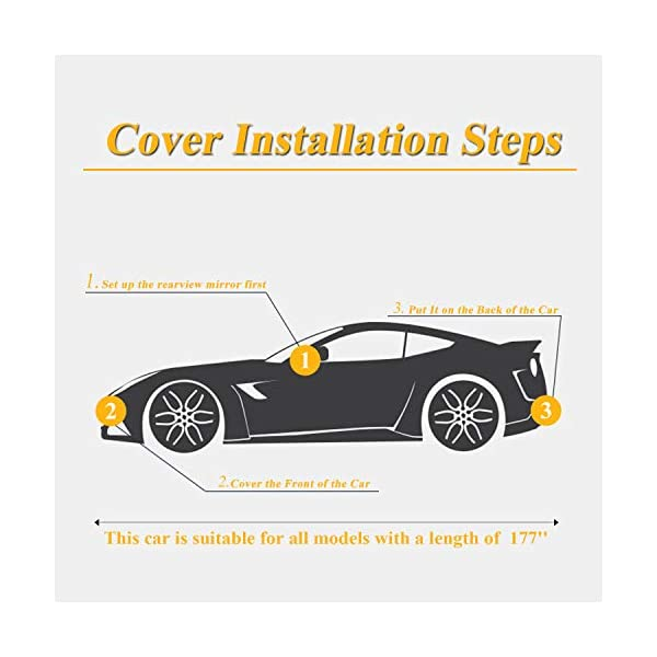 """SEAZEN Car Cover with Zipper,2 Layer Full Car Covers Waterproof All Weather,UV Protection Snowproof Dustproof,Universal Car Cover Fit SUV Jeep-Length 191/"""" to 200/"""""""