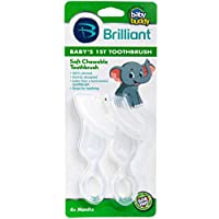Brilliant Baby's 1st Toothbrush Teether - Premium Silicone First Toothbrush for Babies and Toddlers - Kids Love Them, Clear, 2 Count