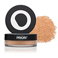 Priori All-Natural Mineral Powder Foundation SPF 25 - Antioxidant Enriched, Broad Spectrum Sunscreen, Flawless Coverage Mineral Makeup - Shade 3 Soft Medium