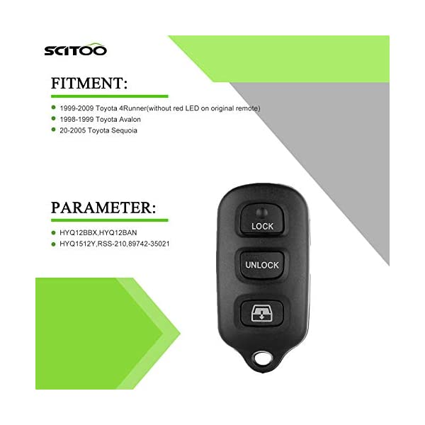 Key Fob Keyless Entry Remote Shell Case /& Pad fits Toyota 1999-2009 4runner 2001-2008 Sequoia