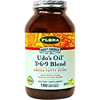 Udo's Oil Capsules Triple Omega 3-6-9 180 ct Vegetarian Softgels - Organic Fatty Acid Supplement - Supports Immune System, Digestion, Joint Functions- for Skin, Cellular, & Cardiovascular Health