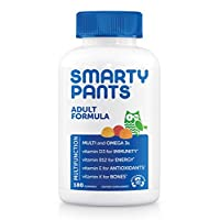 Daily Gummy Multivitamin Adult: Vitamin C, D3, & Zinc for Immunity, Omega 3 Fish Oil, B6 & Methyl B12 for Energy, Iodine, Choline, Vitamin E by Smartypants (180 count, 30 Day Supply)