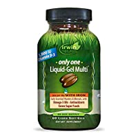 Irwin Naturals Only One Liquid-Gel Multi with Iron Daily Essential Vitamins, Minerals, Antioxidants, Omega-3s & Green Super Foods - 60 Liquid Softgels