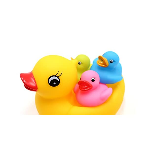 Cool Cara Novelty Place Float /& Squeak Six Rubber Duck Family Pack Ducky and a Octopus Baby Bath Toy for Kids Pack of 4 Cool Cara®