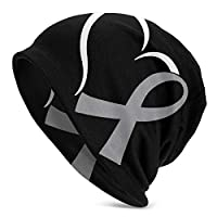 Heart Brain Cancer Awareness Men Womens Solid Color Beanie Hat - Stretchy & Soft Winter Cap(Thin)