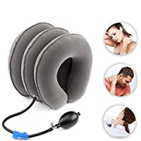 TBBSC Cervical Neck Traction Device & Collar Brace Adjustable Air Physical Therapy Posture Corrector for Spine Alignment, Inflatable Support Stretcher Pillow at Home or Office
