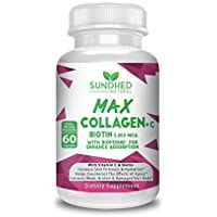 Sundhed Natural Max Collagen Plus C (60 caps) - All Natural Collagen Capsules with Biotin & Bioperine to Boost Anti Aging Hydration & Skin Firmness - Collagen Pills to Strengthen Bones & Nails