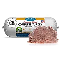 Raw Paws Pet Raw Frozen Dog Food & Cat Food, Turkey Recipe, 1-lb Rolls (20 Pack) - Frozen Cat Food Made in USA - Turkey Roll Dog Food - Log Dog Food - Refrigerated Dog Food - Frozen Food for Dogs