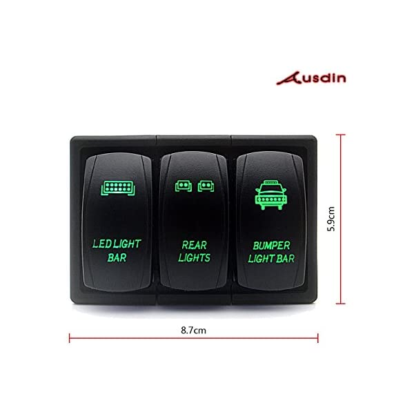 Ausdin Led Light Bar Rocker Switch 3 Gang Switch Panel With Rocker Switch Holder 14AWG Wiring Harness Pre-Wired Easy Installation 300W 12//24V Each Gang ON-OFF LED Light Switch Panel Rocker Switch