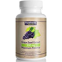 Grape Seed Extract Capsules 300mg, 120 Count, 4 Month Supply, Natural - High Potency - (95% Proanthocyanidins) Purethentic Naturals, (1 Bottle)