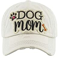 KB Adjustable Ladies Womens Dog Mom Bone Puppy Paw Cap Hat (Off White Beige)