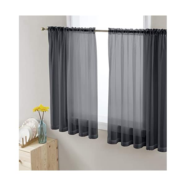 HUTO Grey Ombre Curtain Light Grey Sheer Curtain Modern Gradient Window Panel Voiles for Living Room//Bedroom 84 inch Set of 1